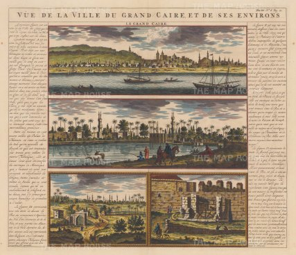 "Chatelain: Cairo. 1719. A hand coloured original antique copper engraving. 20"" x 15"". [EGYp961]"