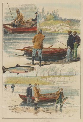 "ISDN: Salmon Fishing. 1891. A hand coloured original antique wood engraving. 9"" x 14"". [FIELDp1149]"
