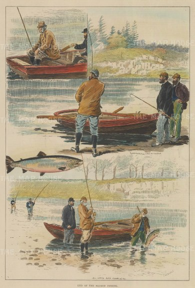 """ISDN: Salmon Fishing. 1891. A hand coloured original antique wood engraving. 9"""" x 14"""". [FIELDp1149]"""