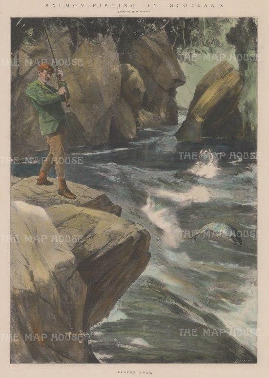 "Graphic Magazine: Salmon Fishing. 1902. A hand coloured original antique photolithograph. 9"" x 14"". [FIELDp1330]"