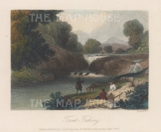 """Richardson: Trout Fishing. 1843. A hand coloured original antique steel engraving. 6"""" x 4"""". [FIELDp1508]"""