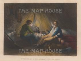 "Grieg: Sportsman's Tent, India. A hand coloured original antique steel engraving. 6"" x 4"". [FIELDp1518]"