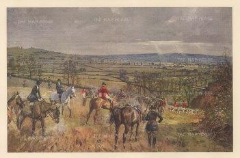 The Warwickshiret. Kill at Gaydon Spinney looking towards Edgehill.