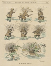 """Punch: A day with the fly. 1919. A hand coloured original antique wood engraving. 7"""" x 11"""". [FIELDp1538]"""