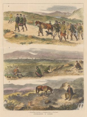 """Graphic Magazine: Grouse Shooting. 1878. A hand coloured original antique wood engraving. 9"""" x 14"""". [FIELDp1556]"""