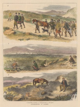 "Graphic Magazine: Grouse Shooting. 1878. A hand coloured original antique wood engraving. 9"" x 14"". [FIELDp1556]"
