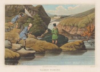"""Alken: Salmon Fishing. 1823. An original colour antique aquatint. 12"""" x 9"""". [FIELDp745]"""