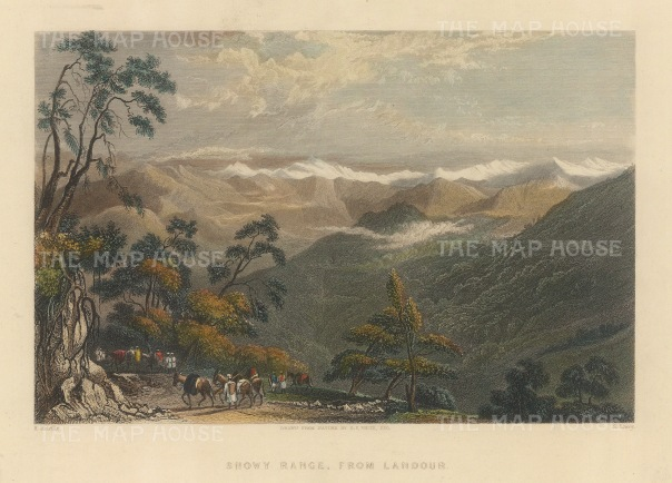 """White: Himalayas. 1838. A hand coloured original antique steel engraving. 8"""" x 6"""". [INDp1466]"""