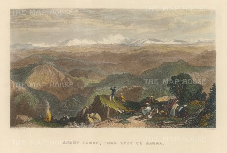 "White: Himalayas. 1838. A hand coloured original antique steel engraving. 8"" x 6"". [INDp1467]"