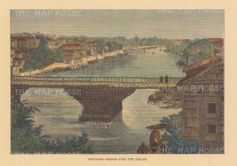 "Reclus: Srinagar. 1894. A hand coloured original antique wood engraving. 8"" x 6"". [INDp1473]"