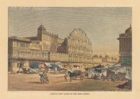 "Reclus: Jaipur. 1894. A hand coloured original antique wood engraving. 8"" x 6"". [INDp1474]"