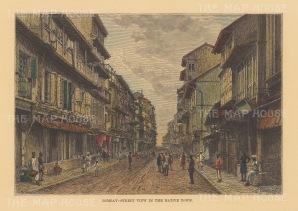 """Reclus: Mumbai. 1894. A hand coloured original antique wood engraving. 8"""" x 6"""". [INDp1475]"""