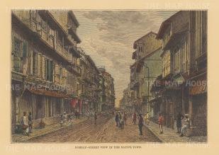 "Reclus: Bombay (Mumbai). 1894. A hand coloured original antique wood engraving. 8"" x 6"". [INDp1475]"