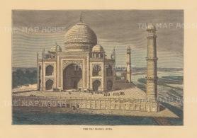 "Reclus: Taj Mahal, Agra. 1894. A hand coloured original antique wood engraving. 8"" x 6"". [INDp1476]"