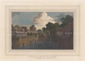 """Daniell: Delhi. 1813. A hand coloured original antique aquatint. 9"""" x 7"""". [INDp1477]"""