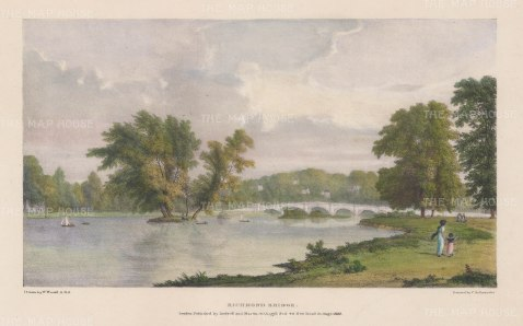 Richmond: View towards Richmond Bridge. After William Westall, RA.