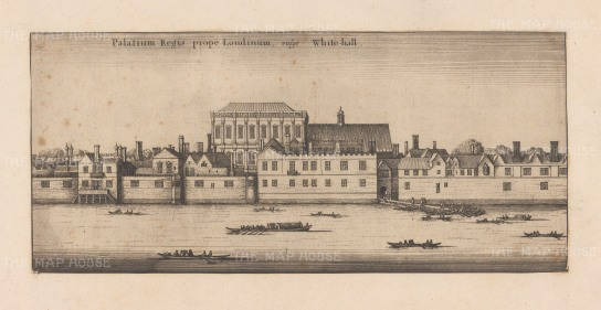 Whitehall: Panoramic view over the Thames of Royal Palace of Whitehall destroyed by fire in 1698.