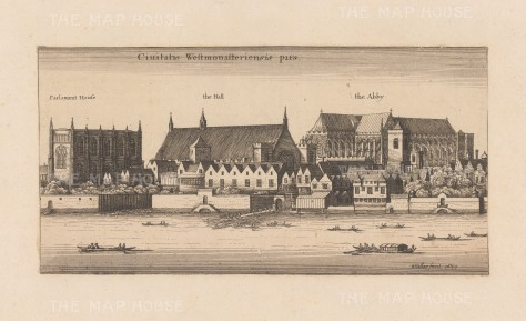 Westminster: View over the Thames of Parliament House, Westminster Hall and Abbey.