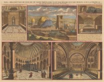 Holy Sepulchre Church: View of the Church of the Resurrection at Calvary (Golgotha) with five views of the interior.