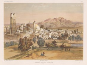 Iran: Semnan: Panorama of the city at the foot of the Alborz Mountains and bordering the Kavir Desert.