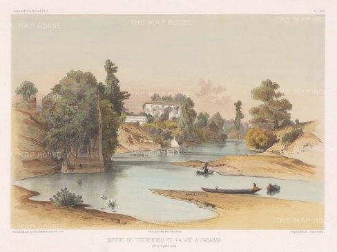 Iran: Palace of Tarabad on the Titchenrou (Tajan) River after Jules Laurens.