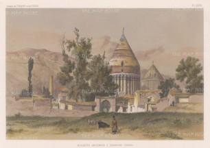 Iran: Damavand. Jam'eh Mosque with the Damavand volcano in the background.