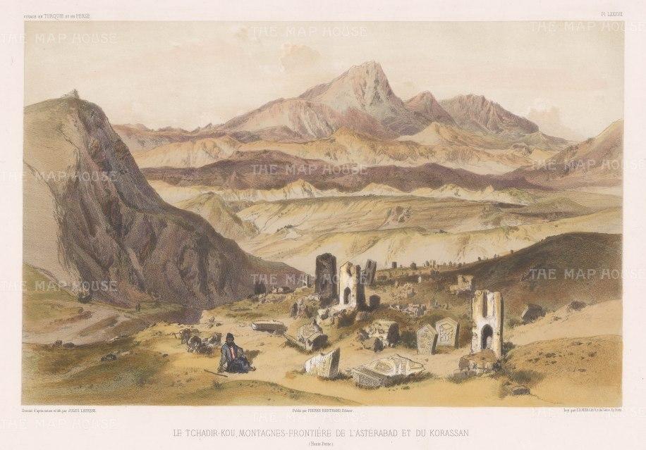 Iran: Aladagh Mountains. Mount Tchadir and ruins between Asterbad (Gorgan) and Khorassan.
