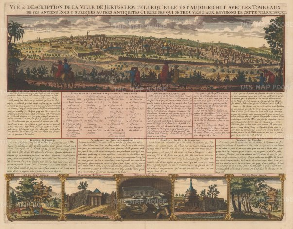 Jerusalem: Panoramic view with five views of tombs and sepulchres, and explanatory text in French.