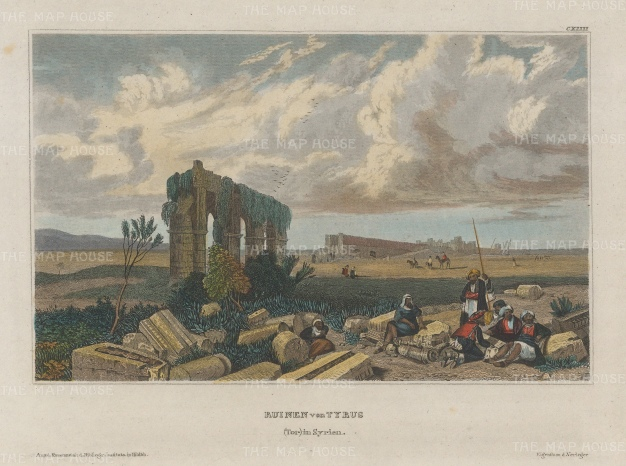 """Meyer: Tyre. 1836. A hand coloured original antique steel engraving. 8"""" x 6"""". [MEASTp1473]"""
