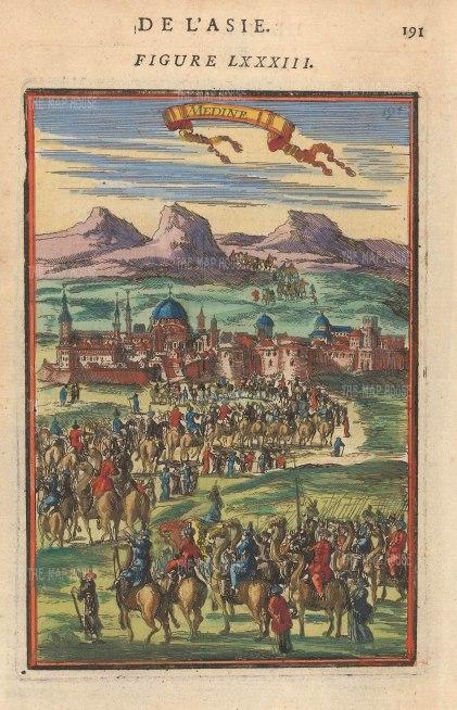 "Mallet: Medina, Saudi Arabia. 1683. A hand coloured original antique copper engraving. 4"" x 6"". [MEASTp1541]"