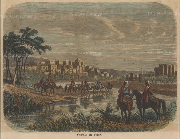 "Collins: Tripoli. c1870. A hand coloured original antique wood engraving. 8"" x 5"". [MEASTp1577]"