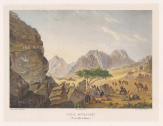 Wady Mokatteb, Gebel el Mokatteb or Written Mountains. View from the south east with a caravan on the approach. The famous inscriptions were variously attributed as Hamyaric and Chaldean.