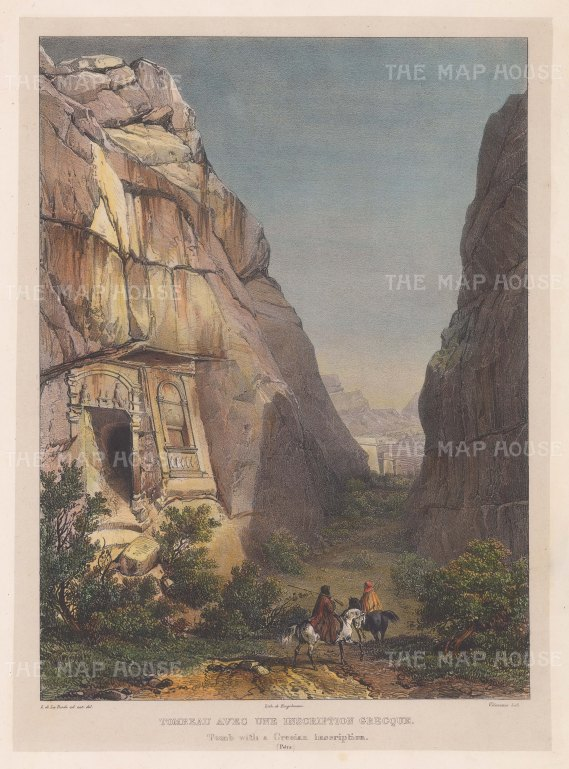 Petra:View of the entrance to a Nabataean tomb with a Greek inscription.