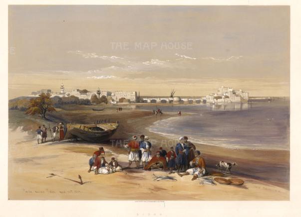 "Roberts: Sayda, Lebanon. 1843. A hand coloured original antique lithograph. 21"" x 15"". [MEASTp1604]"