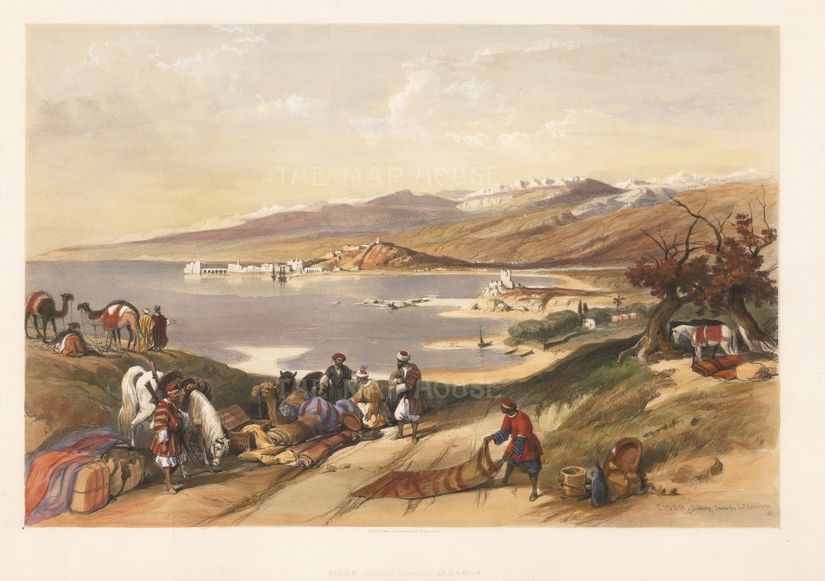 "Roberts: Sayda, Lebanon. 1843. A hand coloured original antique lithograph. 21"" x 15"". [MEASTp1605]"