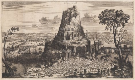 Iraq: Babel. View of the Tower and city based upon Biblical descriptions.