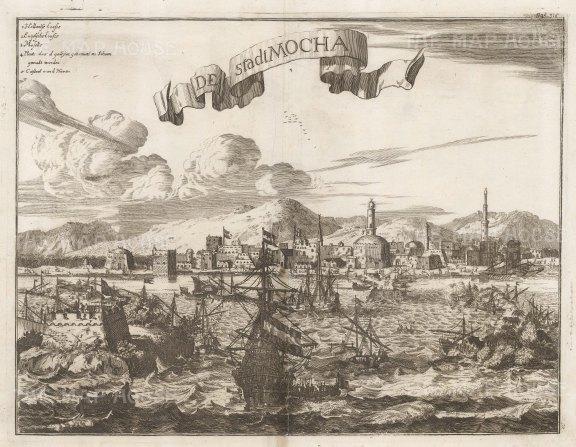 "Montanus: Mocha, Yemen. c1670. An original antique copper engraving. 15"" x 12"". [MEASTp1632]"