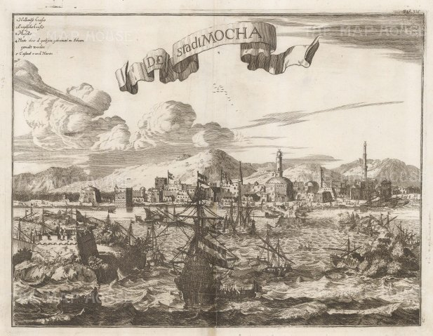 "Montanus: Mocha, Yemen. c1670. An original antique copper engraving. 15"" x 12"". [MEASTp1632w"