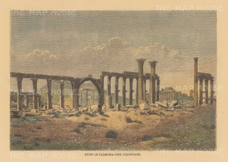 "Reclus: Palmyra. 1894. A hand coloured original antique wood engraving. 8"" x 6"". [MEASTp1656]"