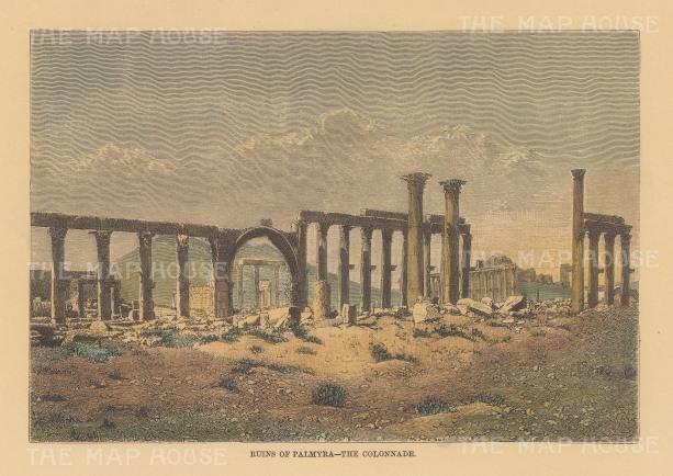 "Reclus: Palmyra. 1894. A hand coloured original antique wood engraving. 8"" x 6"". [MEASTp1656]"