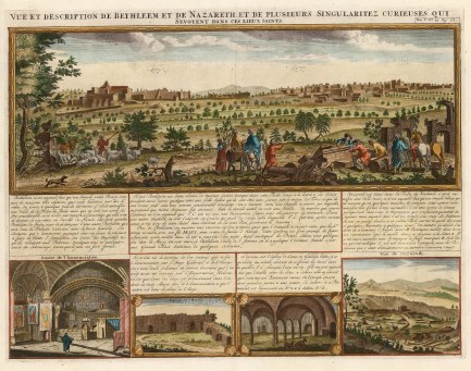 Bethlehem: Panorama of the city with three small views including Nazareth. Explanatory text in French.