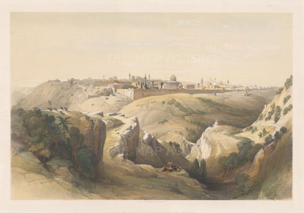 Panorama of the Jerusalem from the Mount of Olives to the Mosque of Omar.