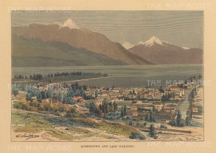 """RESERVED Reclus: Queenstown. 1894. A hand coloured original antique wood engraving. 8"""" x 6"""". [NWZp289]"""