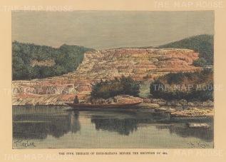 Rotomahana Lake: View of Te Otukapuarangi, the pink silica deposits destroyed by the eruption of Mount Tarawera.