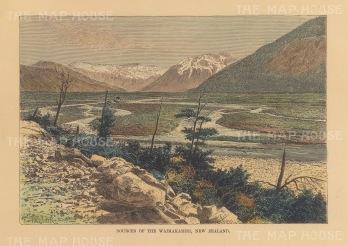 Waimakariri River: View of the river's source at the Southern Alps, Ka Tintiriolemoana.
