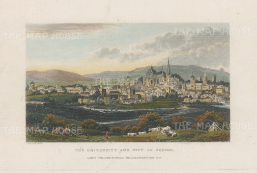 """Kelly: Oxford. 1844. A hand coloured original antique steel engraving. 7"""" x 4"""". [OXONp811]"""