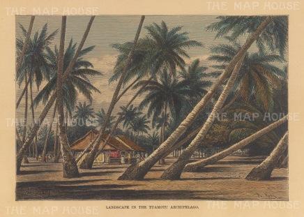 "Reclus: Tuamotu Islands. 1894. A hand coloured original antique wood engraving. 8"" x 6"". [PLYp254]"