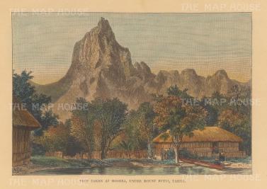 "Reclus: Mount Rutui, Morea, Tahiti. 1894. A hand coloured original antique wood engraving. 8"" x 6"". [PLYp255]"