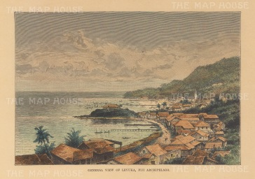 "Reclus: Levuka, Fiji. 1894. A hand coloured original antique wood engraving. 8"" x 6"". [PLYp256]"