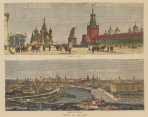Double Panorama: View of the city from the East. View of St Basil's and the Kremlin.